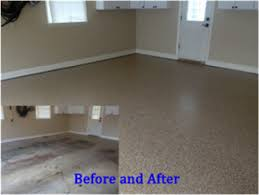 Epoxy flooring garage Saddle Tan Beforeafterfloorcoating Garage Door Repair Anthem Az Myths About Garage Floor Coatings