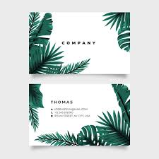 Tropical <b>nature</b> with exotic leaves horizontal <b>double</b>-<b>sided</b> business ...