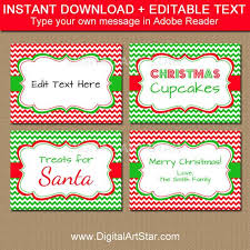 Holiday Placecards Holiday Party Food Labels Christmas Food Labels Printable Food