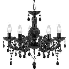 crystal black and acrylic glass marie therese chandelier 1455 5bk
