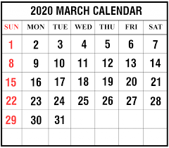 Free Blank March 2020 Calendar Printable In Pdf Word Excel