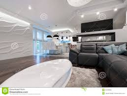Interior Design Kitchen Living Room Modern Interior Design Living Room With Kitchen Stock Photo