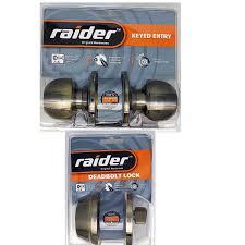 raider combo round door knob and deadbolt antique brass