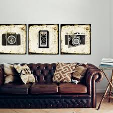 vintage office decorating ideas.  vintage set of three square canvases ready to hang vintage camera prints office  decor wall art decor and decorating ideas d