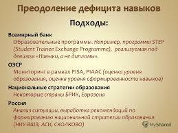 Презентация на тему Навыки вместо диплома Сергей Рощин Павел  5 Всемирный банк Образовательные