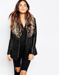 image 1 of warehouse faux leather and faux fur collar jacket