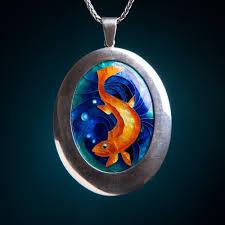 custom made golden fish cloisonné pendant