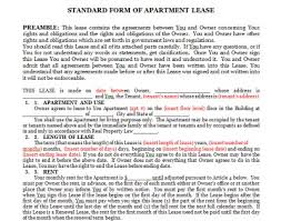 lease agreement sample forms for lease agreement