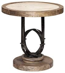 rustic round light wood accent table stone top iron globe industrial loft industrial side tables and end tables by my sy home