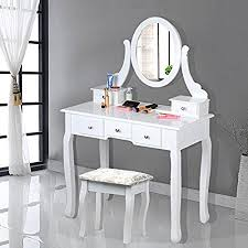 yboo white wooden dressing table with oval mirror and stool bedroom shabby chic 5 drawers makeup desk sets amazon co uk kitchen home
