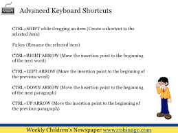 computer key board shortcuts computer lessons for kids keyboard shortcuts