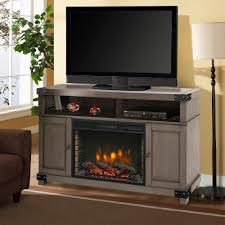 freestanding electric fireplace tv stand in dark weathered gray