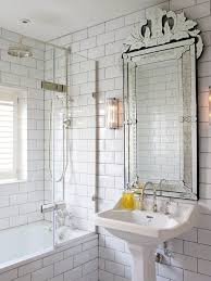 london beveled subway tile with door recessed medicine cabinets bathroom transitional and ornate mirror white