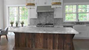 kitchen with salvaged wood island
