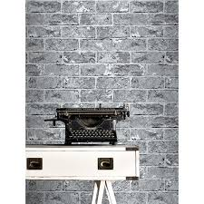 Small Picture Silver Black Brick Effect Wallpaper 262932 Windsor Wallcoverings