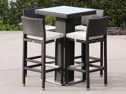 garden rattan wicker furniture 5 piece bar seating with table and chairs