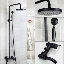 details about black wall mounted bathroom rainfall shower faucet set tub faucet mixer taps