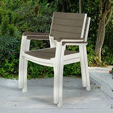keter harmony indoor outdoor stackable patio furniture armchair set modern wood style finish