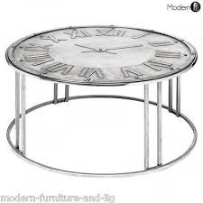 antique silver round coffee table with clock face silver metal coffee table modernfl