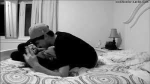 Amazing Gif Love Couple Girl Cute Adorable Black And White Beautiful Bedroom Bu0026w Bed  Kiss Boy Guy