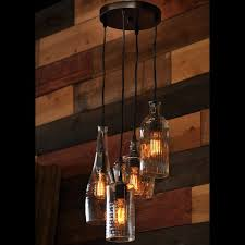 the menagerie recycled clear glass liquor bottle pendant chandelier