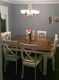 Square 8 Seat Farmhouse Dining Table With White Cross Back Chairs