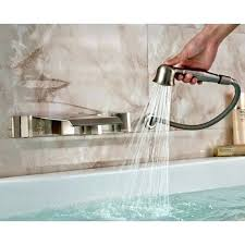wall mount bathtub faucet with hand shower wall mounted bathtub faucets brushed nickel wall mount waterfall