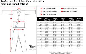Karate Belt Size Chart Proforce 5 Oz Karate Uniform Elastic Drawstring 55 45 Blend With Free White Belt Black 0000
