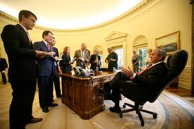 bush oval office. Bush Oval Office. President George W. In The Office - Photo By E