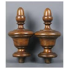 pair of wood finials