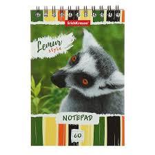 <b>Блокнот</b> А6, 60 листов, в клетку, на гребне, <b>ErichKrause Lemur Style</b>