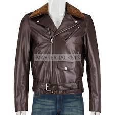 men lightweight shearling collar biker brown leather jacket brown leather jacket biker brown leather jacket