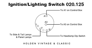 wiring diagrams for classic car parts from holden vintage ignition lighting switch