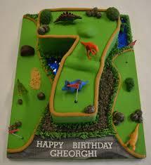 Number 7 Crazy Golf Dinosaur Cake Boys Birthday Cakes