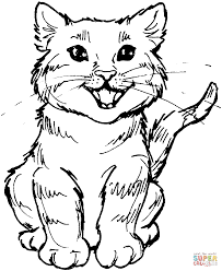 Small Picture Meowing kitten coloring page Free Printable Coloring Pages