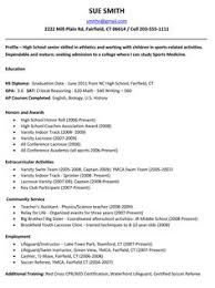 Sample College Resumes For High School Seniors 20 Resume Application