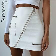 cryptographic fashion chic white faux leather skirt women oblique zipper summer skirts 2018 con high waist skirt mini bottom