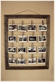 Cool rustic frame with photos hung by clothespins. | For The Home |  Pinterest | Photo hanging