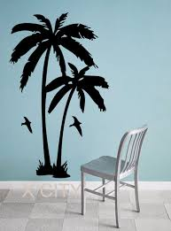 palm trees tropic landscape giant wall sticker vinyl art decal window silhouette stencil living room decor s m l in wall stickers from home garden on