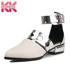 clearance processing kess new fashion sandals women real leather ankle strap pointed toe womens shoes fashion