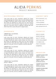 This resume uses a black custom-made sans-serif font with orange accents to  .