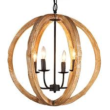 kunmai rustic vintage 4 lights brown wood globe orb chandelier rust metal candle light