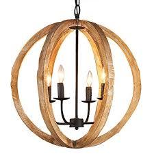 kunmai rustic vintage 4 lights brown wood globe orb chandelier rust metal candle light