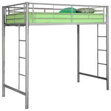 walker edison silver metal twin loft bed