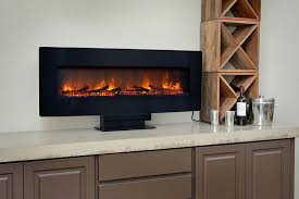 ClassicFlame 48-In Curved Black Wall Mount Electric Fireplace ...