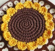 Crochet Decoration Patterns Crochet Sunflower Coaster Pattern Crochet Instructions Crochet