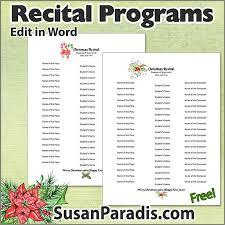 Christmas Program Templates Christmas Recital Program Templates Susan Paradis Piano