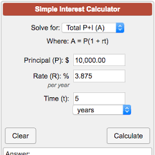 Monthly Principal And Interest Chart Simple Interest Calculator A P 1 Rt