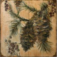 on wood pine tree wall art with pinecone v wood wall art