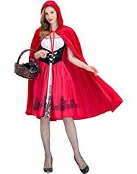 women y little red riding hood costume knee length skirt and removable hood cape